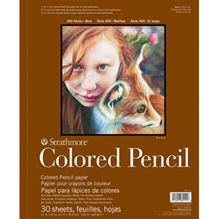 "400 Series Colored Pencil Pad, 11""x14"" Wire Bound, 30 Sheets, Strathmore-colored pencil spiral paper pad By Strathmore"
