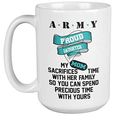 Army: Proud Husband. My Wife Sacrifices Time With Her Family. American Pride Coffee & Tea Gift Mug For Spouse, Partner, Couple, Dad, Daddy, Pop, Officer, Captain, General, Soldier And Navy