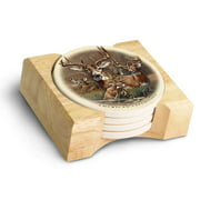 American Expedition Stone Coaster Set-Whitetail Deer Collage