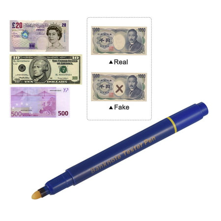 Portable Mini Banknote Tester Pen Counterfeit Money Detector Pen Money Marker Currency Cash Checker Fake Dollar Marker with Ball Point Pen for US Dollar Euro Pound Yen Korean