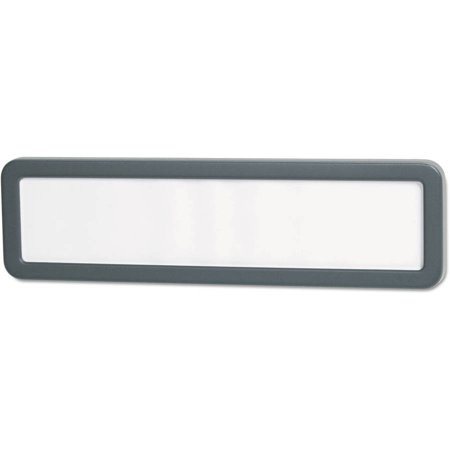 - (2 Pack) Universal Recycled Cubicle Nameplate with Rounded Corners, 9 x 2 1/2, Charcoal