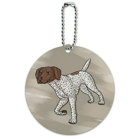 German Shorthaired Pointer Dog Round ID Card Luggage Tag