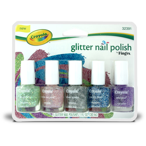 Fing'rs Crayola Glitter Nail Polishes, 32391, 5 count