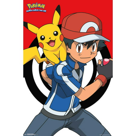 Trends International Pokemon Ash and Pikachu Wall Poster 22.375