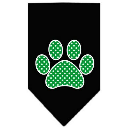 - Green Swiss Dot Paw Screen Print Bandana Black Small