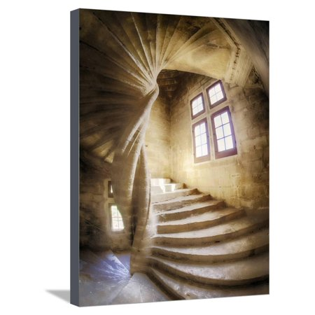 Chateau De Provence (France, Provence, Lourmarin, Spiral Staircase in Chateau De Lourmarin Stretched Canvas Print Wall Art By Terry Eggers)