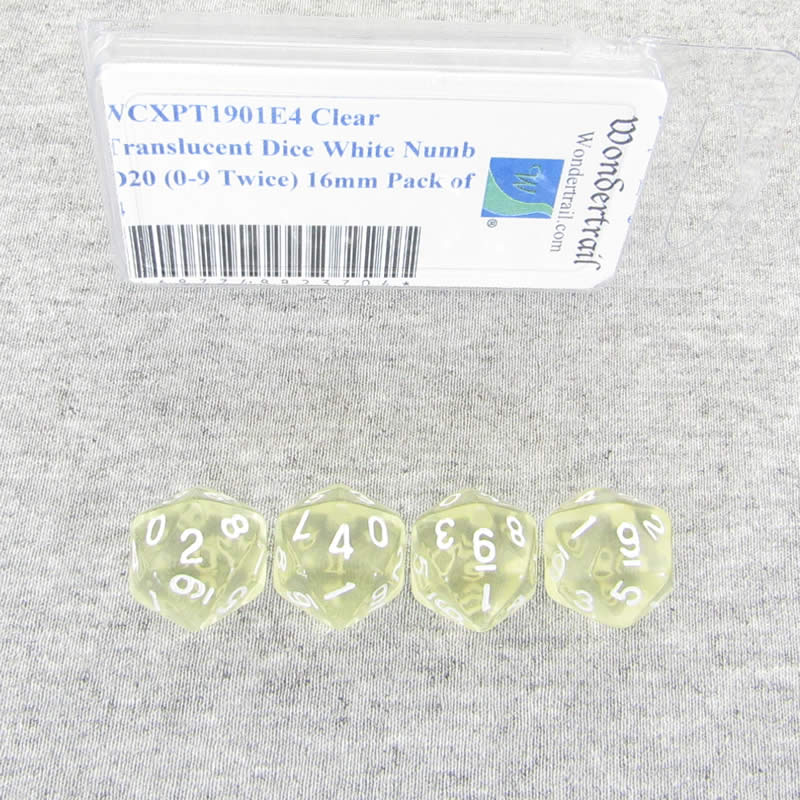 Clear Translucent Dice with White Numbers D20 (0-9 Twice) Aprox 16mm (5/8in) Pack of 4 Wondertrail