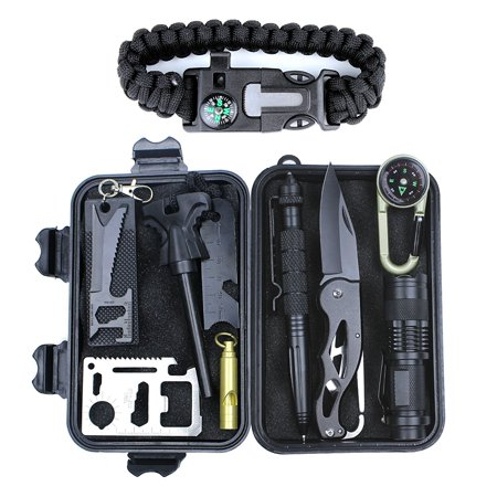 HSYTEK Survival Gear Kit 11 in 1 , Professional Outdoor Emergency Survival Tools Set with Saber Card | Survival Bracelet | Temperature Compass | Powerful Whistle for Hike Camp Earthquake