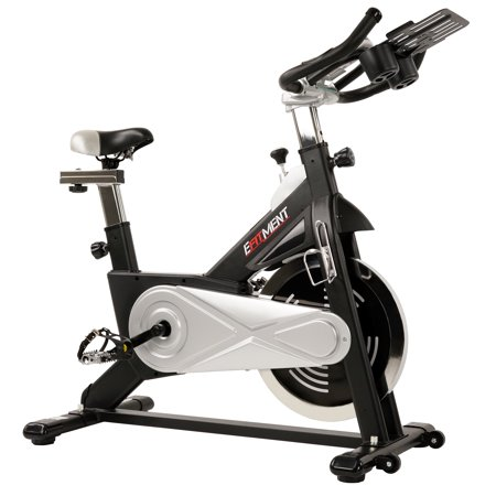EFITMENT Indoor Cycling Exercise Bike w/ 40 lb Flywheel, Belt Drive, LCD Monitor with Pulse and Tablet Holder -
