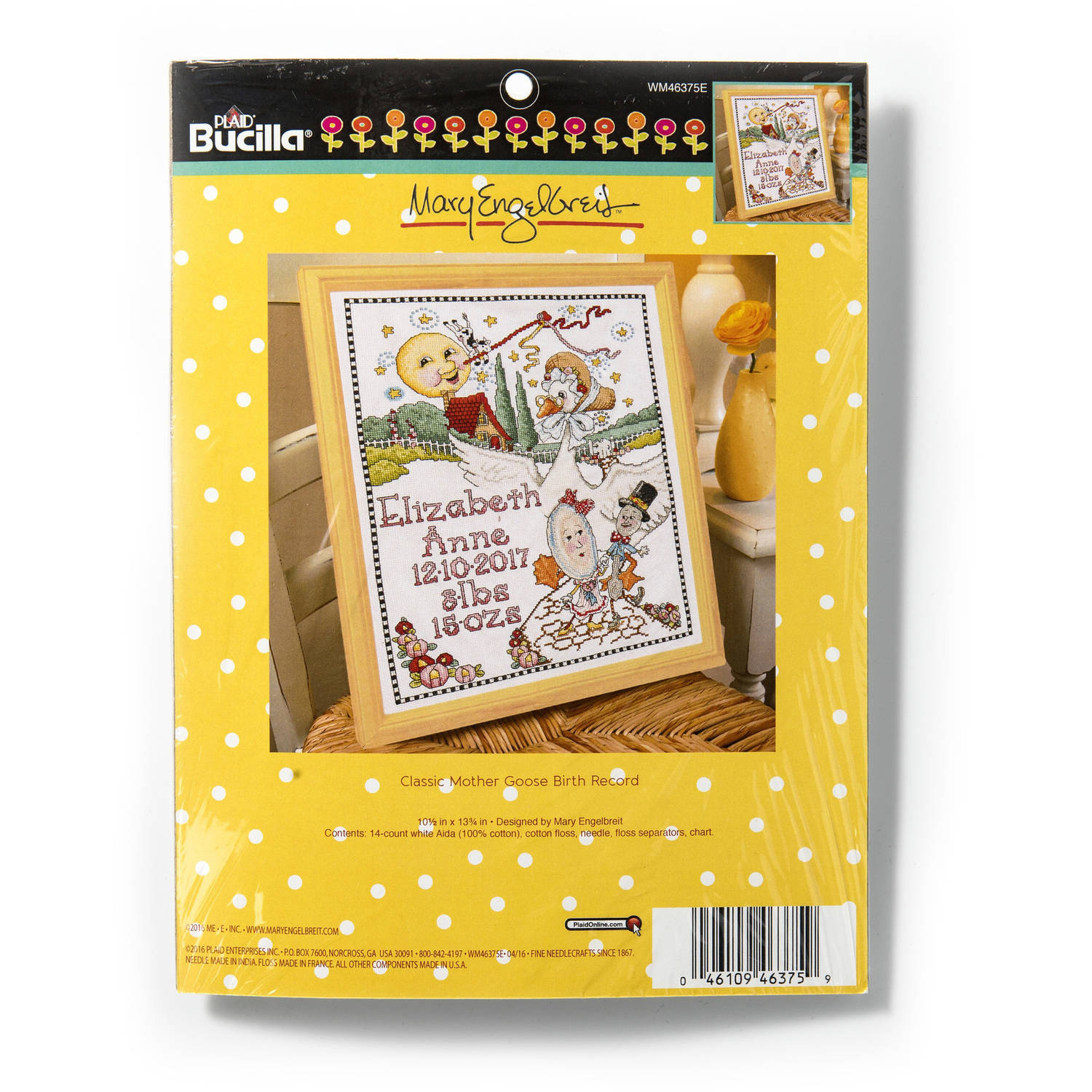 """Bucilla Baby Counted Cross-Stitch Birth Record Kit by Plaid, Mother Goose, 10"""" x 13"""""""