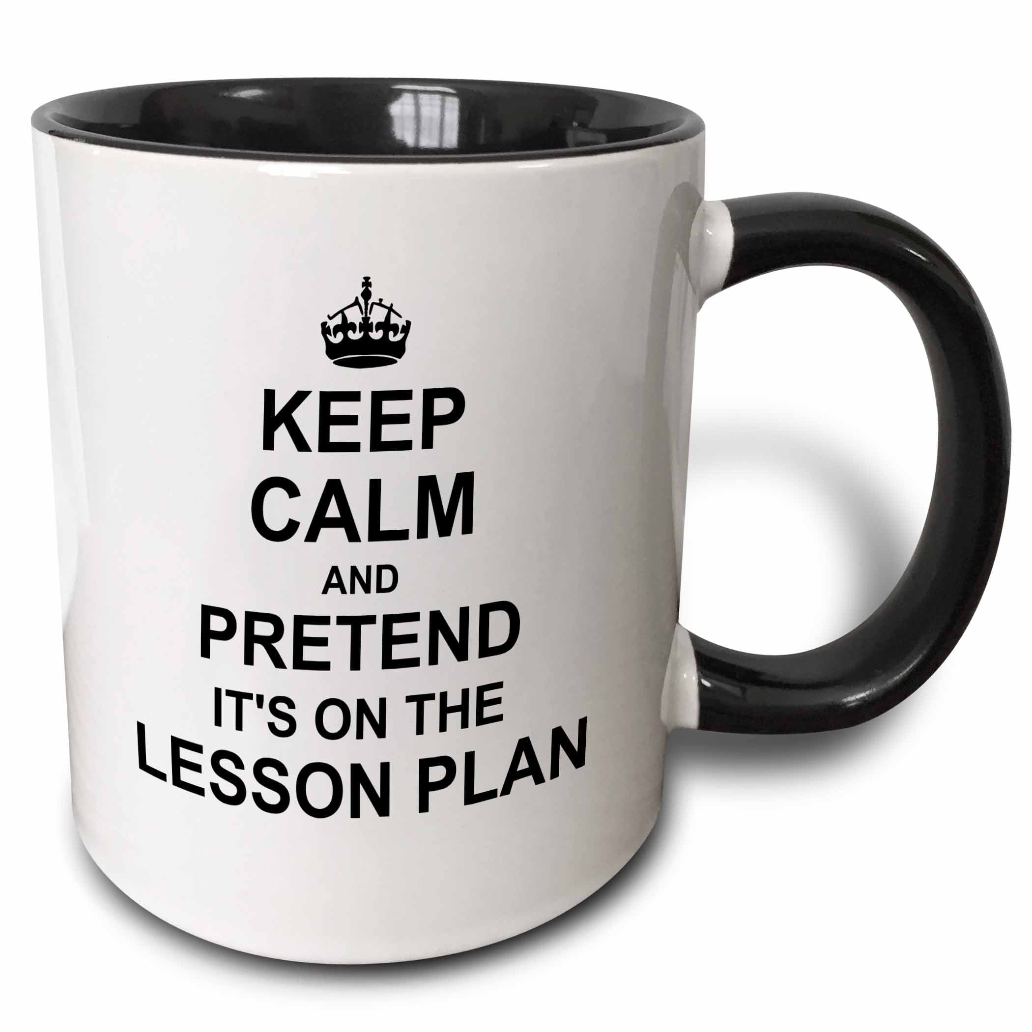 3dRose Keep Calm and Pretend its on the Lesson Plan funny teacher gifts teaching humor humorous fun, Two Tone... by 3dRose