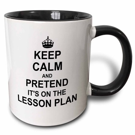 Easy Halloween Teacher Gifts (3dRose Keep Calm and Pretend its on the Lesson Plan - funny teacher gifts - teaching humor - humorous fun, Two Tone Black Mug,)