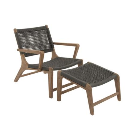 Studio 350 Comfortable Wood Rope Outdoor Chair With Footrest