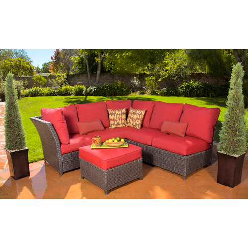 Rushreed 3-Piece Outdoor Sectional Sofa Set, Red, Seats 5