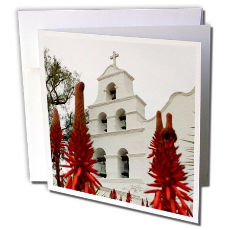 3dRose Outside shot of the San Diego Mission Basilica. - Greeting Cards, 6 by 6-inches, set of 12