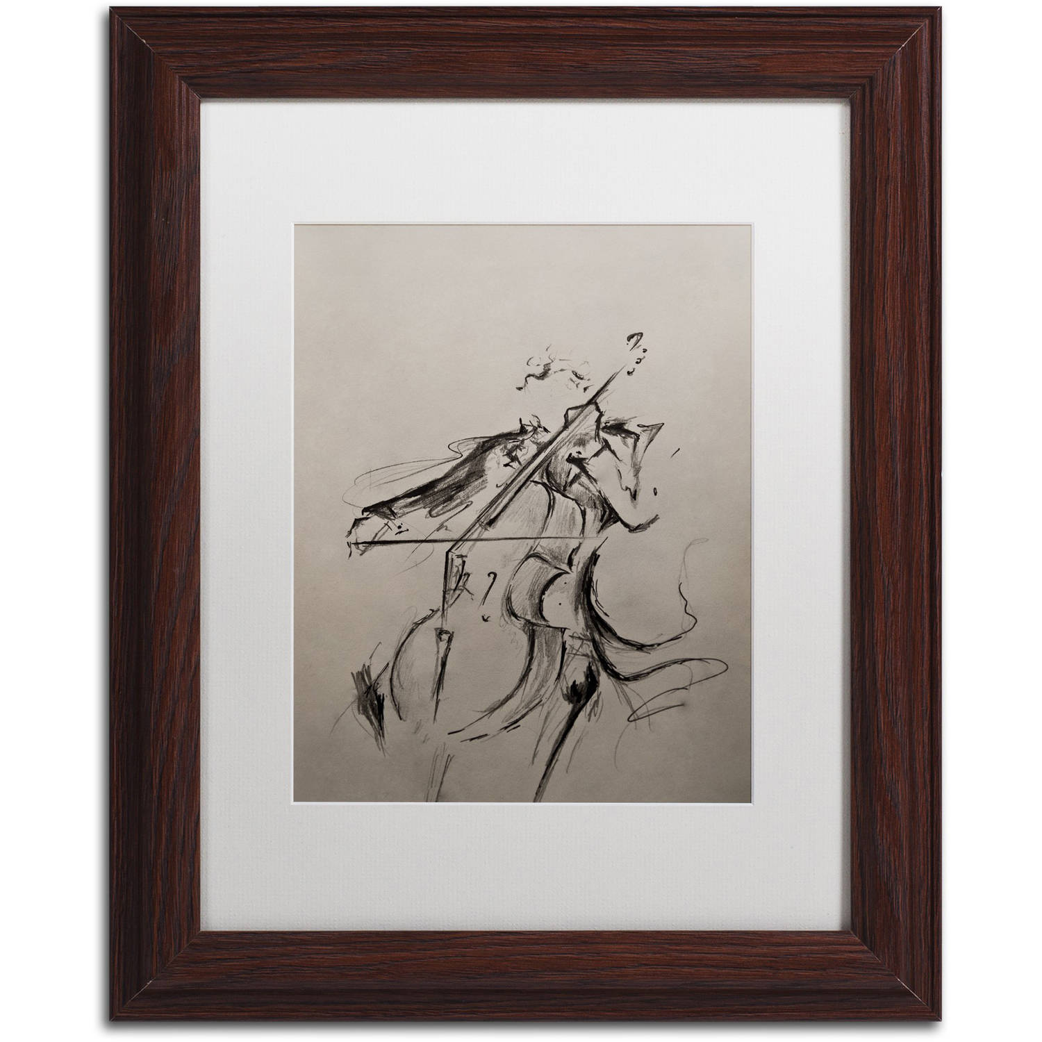 Trademark Fine Art 'The Cellist Sketch' Canvas Art by Marc Allante, White Matte, Wood Frame