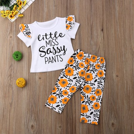 2Pcs Newborn Baby Floral Clothes Little Miss Sassy Pants Ruffle Short Sleeve T-Shirt Tops Long Pants Kids Summer Outfit - Miss Santa Outfit