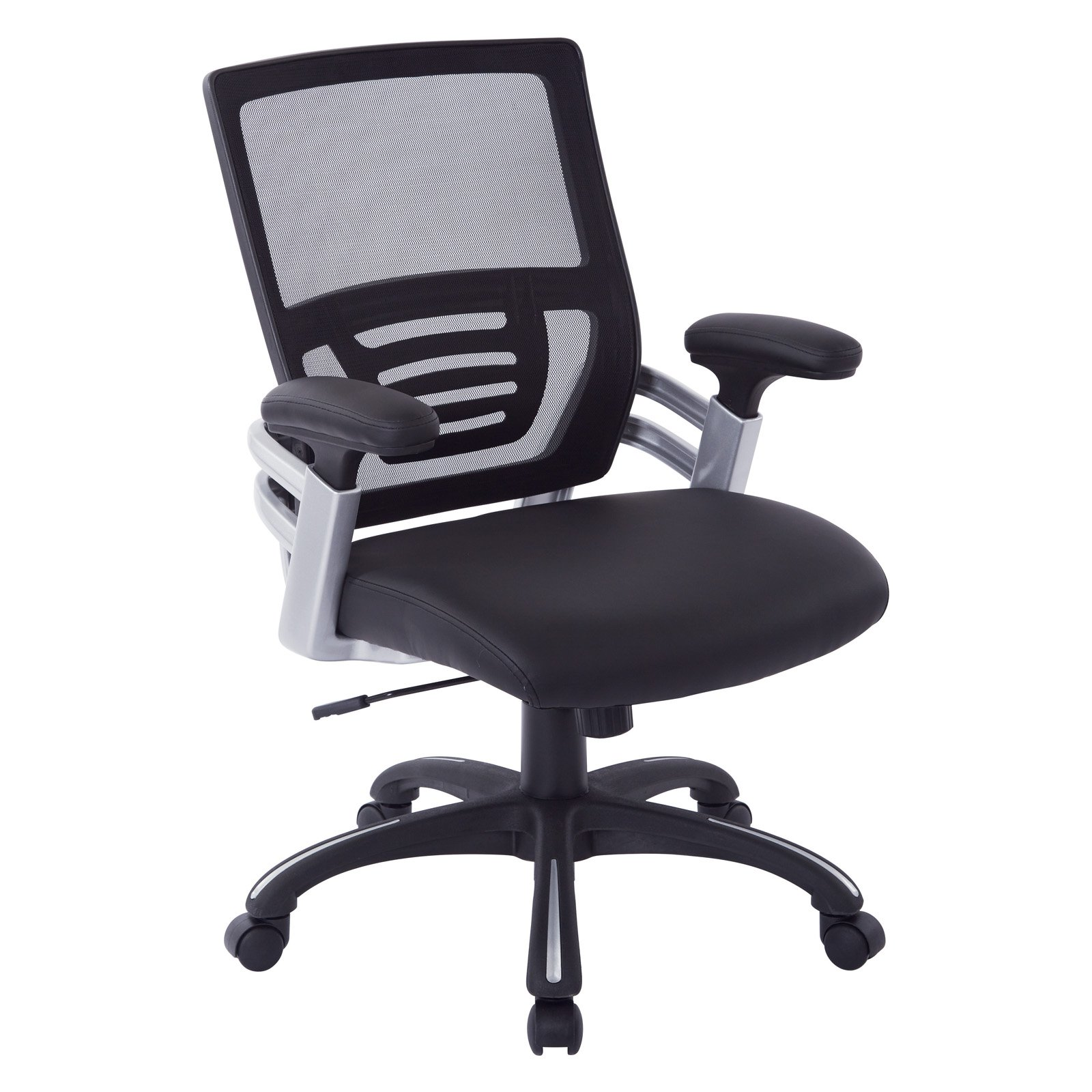 Office Star Mesh Back Managers Chair with Mesh Seat, Adjustable Mesh Padded Arms and Nylon Base with Silver Accents