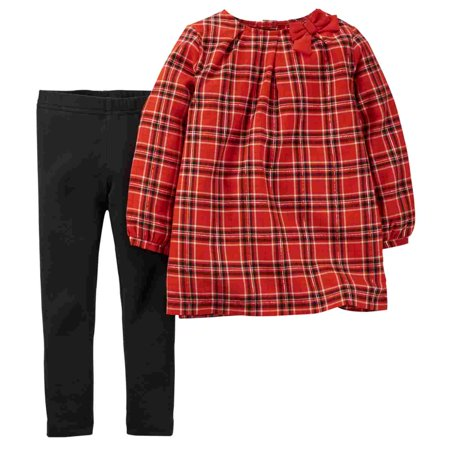 Carters Infant & Toddler Girls Red Plaid Shirt & Black Leggings Pants - Carters Halloween Leggings