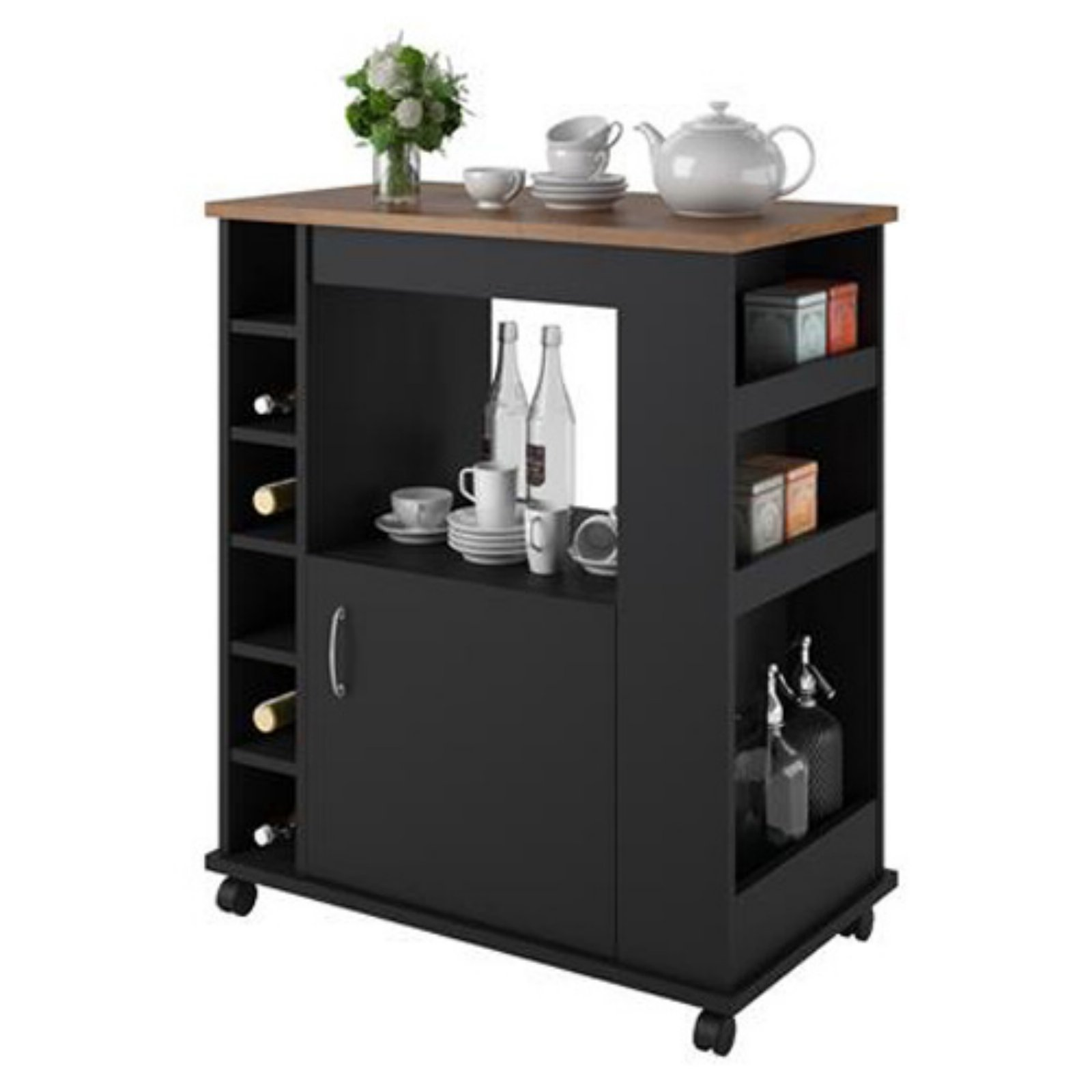 225 & Ameriwood Home Williams Kitchen Cart Black/Old Fashioned Pine