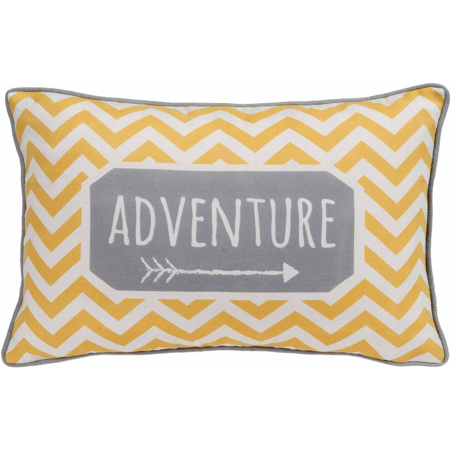 Better Homes and Gardens Chevron Adventure, Yellow and Grey Whimsical Oblong Pillow with Binding