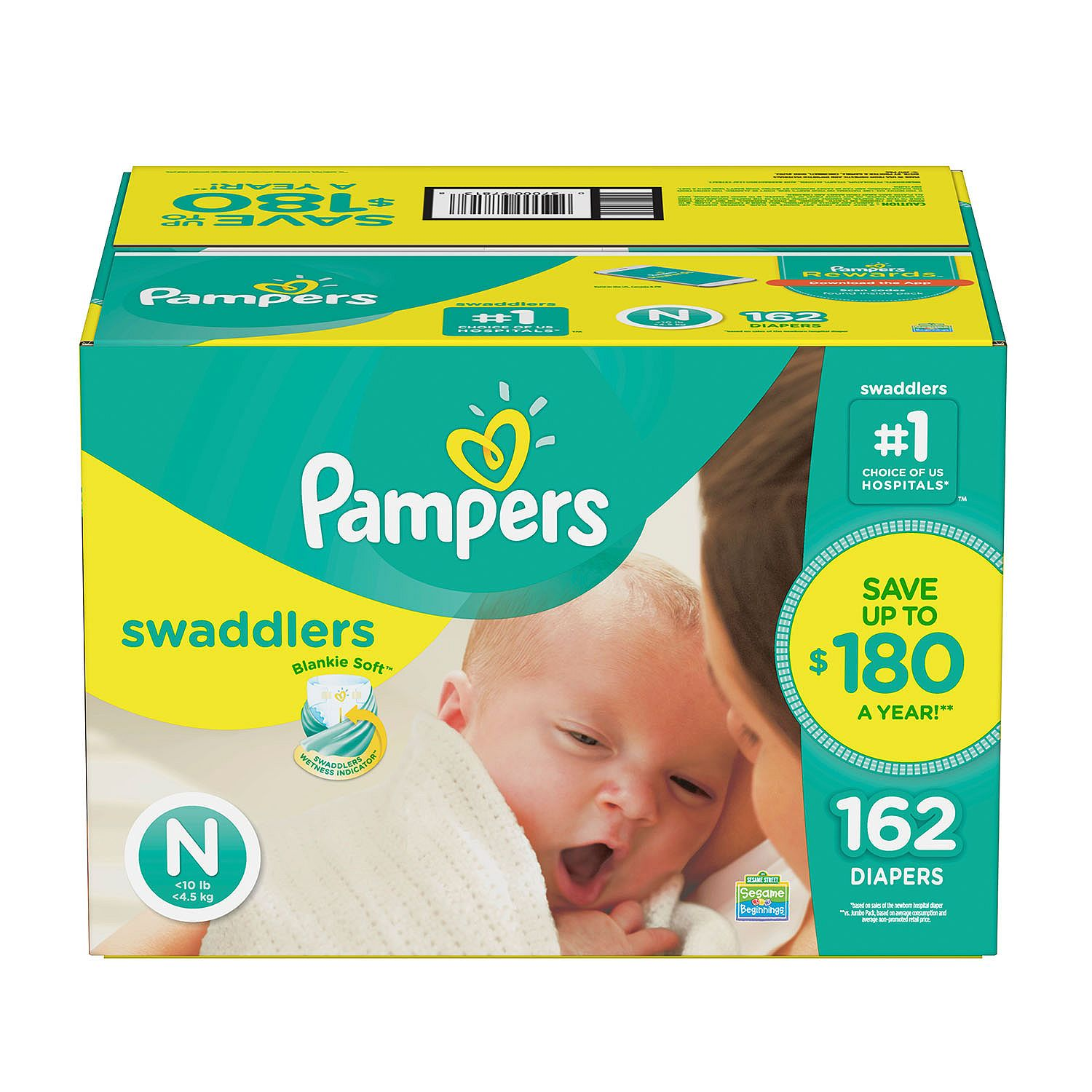 Pampers' Swaddlers Diapers Size Newborn 162 ct. ( Weight Less than 10 lb.) Bulk Qty, Free Shipping... by Branded Diapers