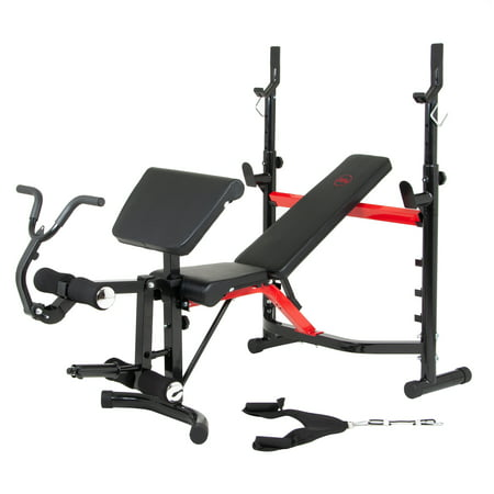 Body Champ Olympic Weight Bench with Arm Curl and Curl Bar