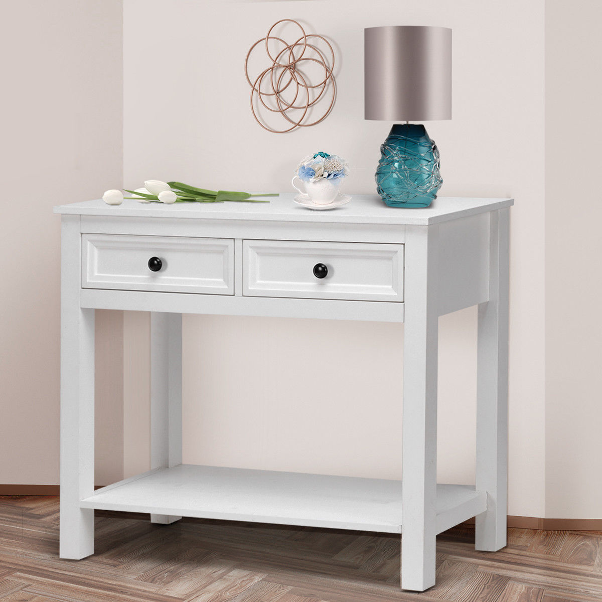 Gymax 2 Drawer Console Table Modern Sofa Entryway Hallway Hall Furniture White W/Shelf