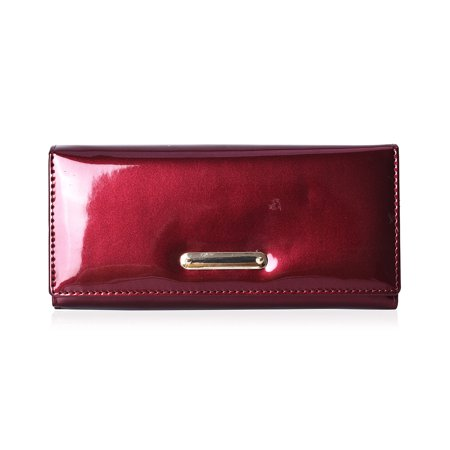 Burgundy Patent Faux Leather Fashion Wallet Clutch Handbag for Women Ladies Mothers Day Gifts