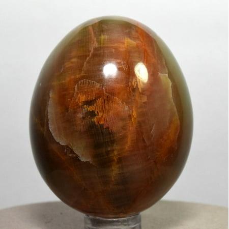 Aragonite Crystal - 55mm Green Orange Red Aragonite Egg Banded Natural Crystal Polished Mineral Stone Egg - Peru + Plastic Stand