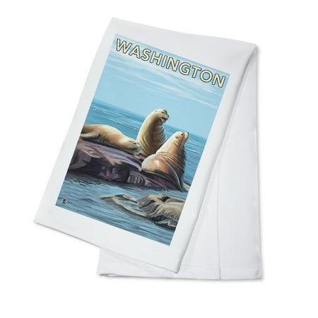 Washington Set - Sea Lions - Washington - Lantern Press Original Poster (100% Cotton Kitchen Towel)