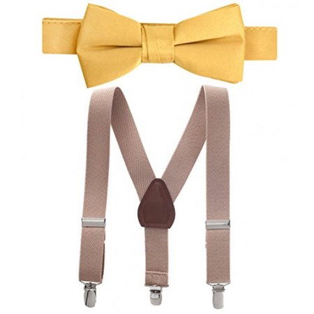 Hold'Em Suspender and Bow Tie Set for Kids, Boys, and Baby - Proudly Made in USA - Extra Sturdy Polished Silver Metal Clips, Pre tied Bow Tie-Tan 30