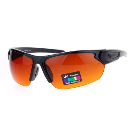Rectangular Amber Ring - Mens Rectangular Blue Buster Amber Lens HD Half Rim Sport Sunglasses Black