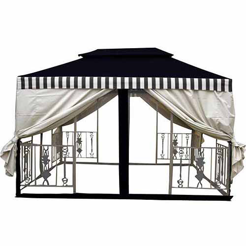 DC America 11.5' x 11.5' 2-Tier Gazebo, Dark Brown with Beige Cabana Top