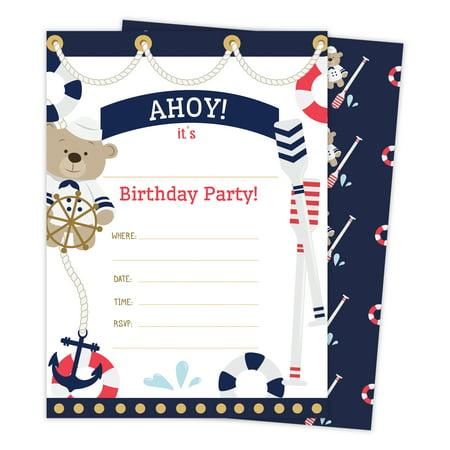 Nautical Birthday Invitations (Nautical Happy Birthday Invitations Invite Cards (25 Count) With Envelopes & Seal Stickers Boys Girls Kids)