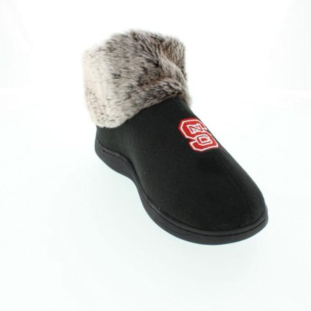 Happy Feet Mens and Womens North Carolina State Wolf Pack NCAA Faux Sheepskin Furry Top Slippers - Wolf Feet