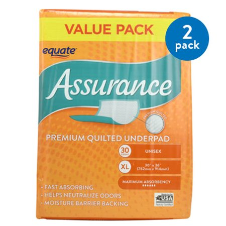 (2 Pack) Equate Assurance Premium Quilted Underpad, XL, 30 - Quilted Underpad