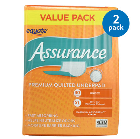 (2 Pack) Equate Assurance Premium Quilted Underpad, XL, 30 Ct