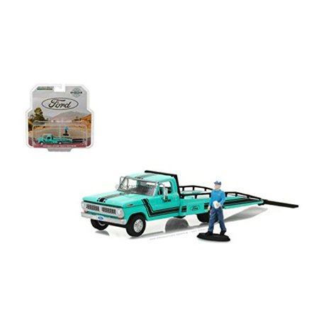 GREENLIGHT 1:64 HOBBY EXCLUSIVE - 1967-72 FORD F-350 RAMP TRUCK WITH TRUCK DRIVER FIGURE DIECAST TOY CAR