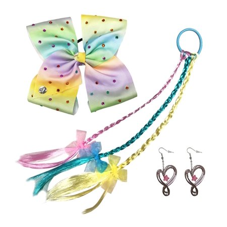 Jojo Siwa Bow Faux Hair And Earrings Costume Accessories Rainbow Rhinestones
