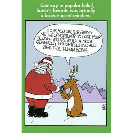 Nobleworks Brown-Nosed Reindeer Leigh Rubin Humorous / Funny Christmas Card ()