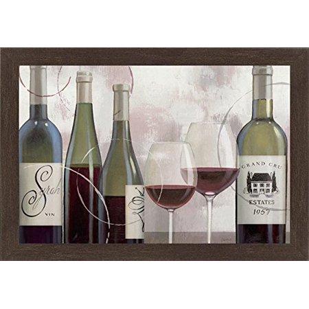 buyartforless FRAMED Taste Appeal Red II Wine Bottles by James Wiens 36x24 Art Print Poster WIDE Dark Coffee Toned Frame
