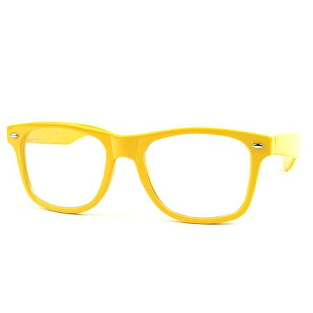 POP Fashionwear  P713CL Wayfarer Unisex Clear Lens Spring Hinge Glasses