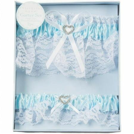 Lace Garter Set With Rhinestone Heart, Blue
