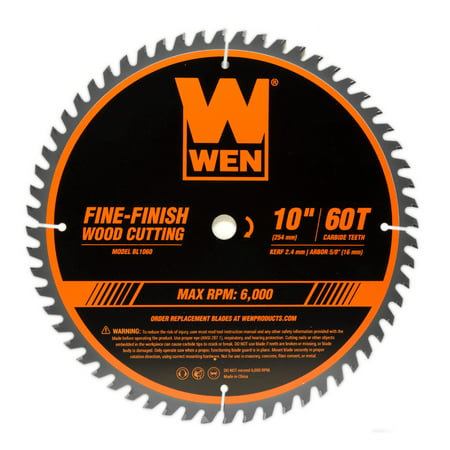 Wen 10 Inch 60 Tooth Fine Finish Professional Woodworking Saw Blade For Miter Saws And Table Saws Bl1060