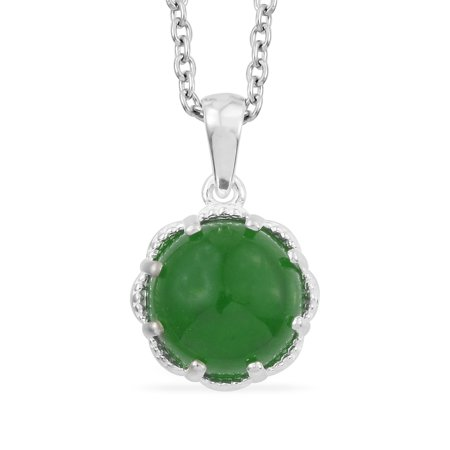 Green Jade Pendant Necklace for Women in 925 Sterling Silver 20