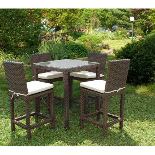 Monza 5-Piece Wicker Square Patio Bar Set with Off-White Cushions