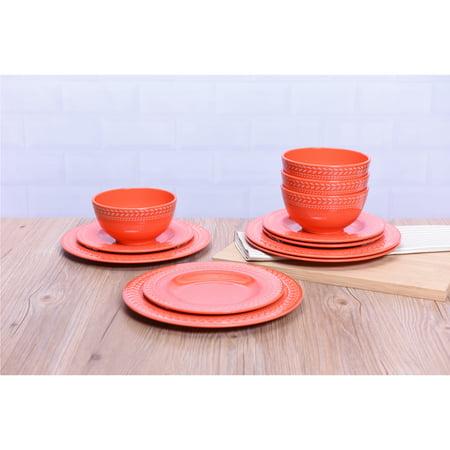 Mainstays Braided Coral 12 Piece Melamine Dinnerware Set for $<!---->