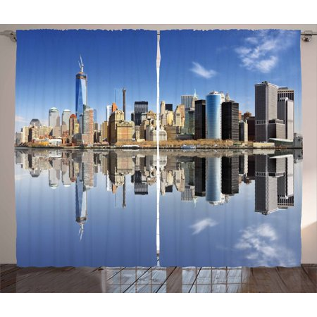 New York City Curtains 2 Panels Set, Manhattan Island Silhouette with Skyscrapers Towers Famous Island, Window Drapes for Living Room Bedroom, 108W X 96L Inches, Blue Pale Orange Grey, by Ambesonne ()
