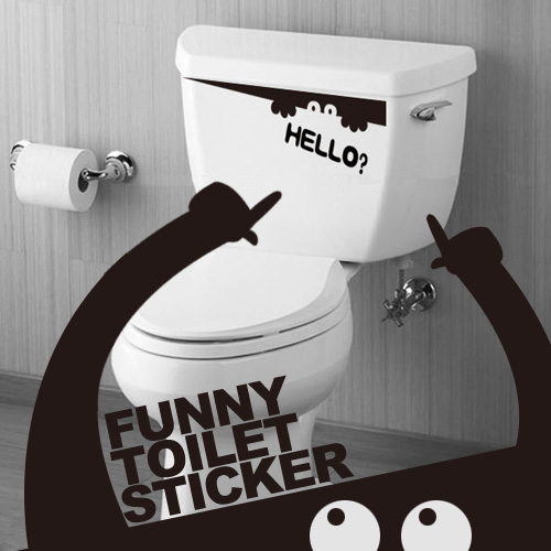 Jeteven Toilet Cartoon Decor Hello Sticker Wall Art Decals Removable Decal Wallpaper,black color